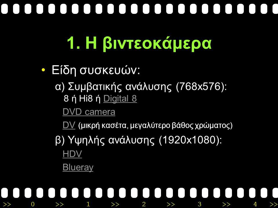 1. Η βιντεοκάμερα Είδη συσκευών: