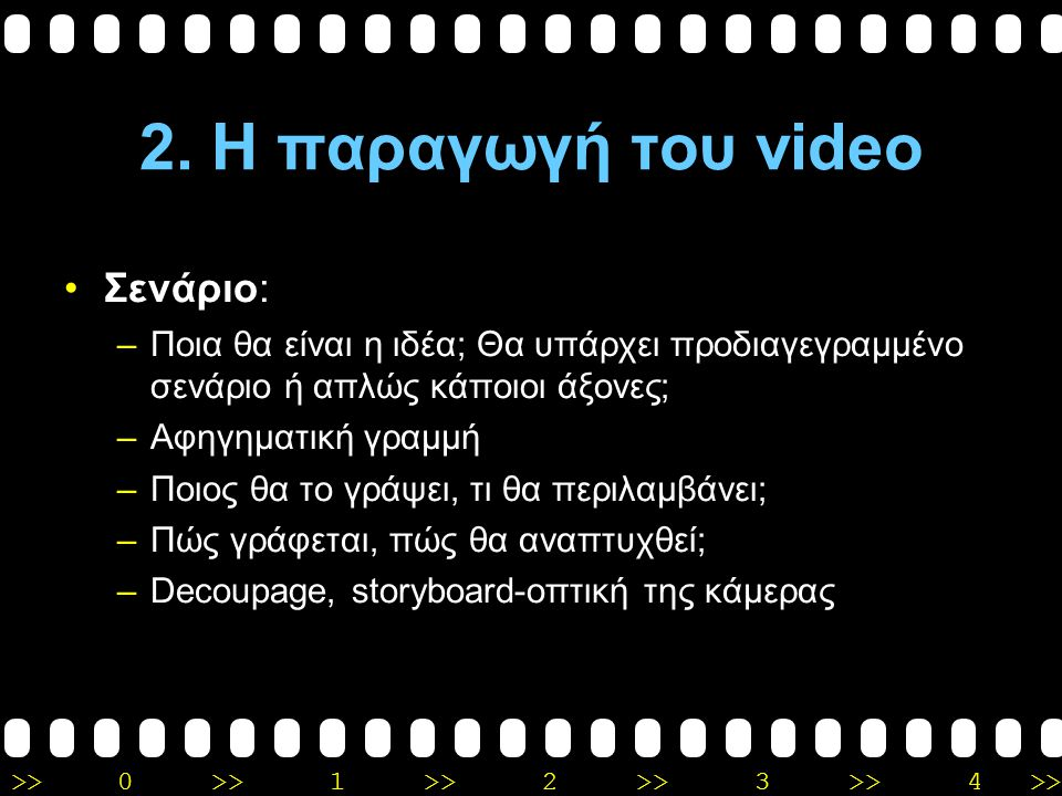 2. Η παραγωγή του video Σενάριο: