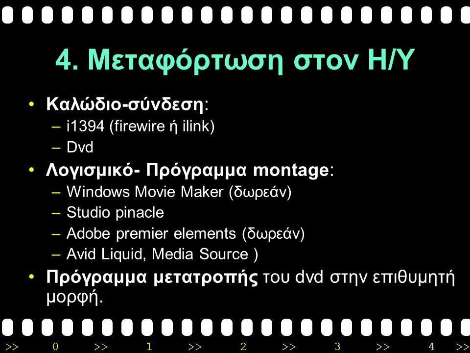 4. Μεταφόρτωση στον Η/Υ Καλώδιο-σύνδεση: Λογισμικό- Πρόγραμμα montage: