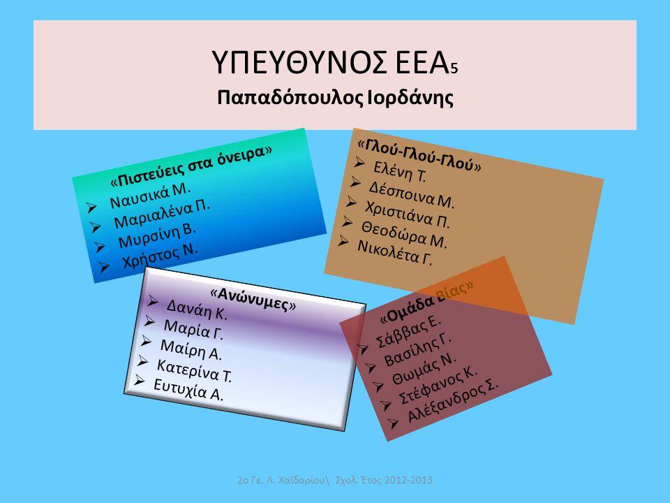 ΥΠΕΥΘΥΝΟΣ ΕΕΑ5 Παπαδόπουλος Ιορδάνης