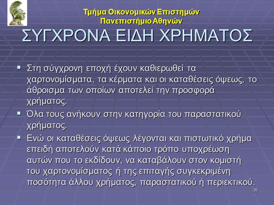 ΣΥΓΧΡΟΝΑ ΕΙΔΗ ΧΡΗΜΑΤΟΣ