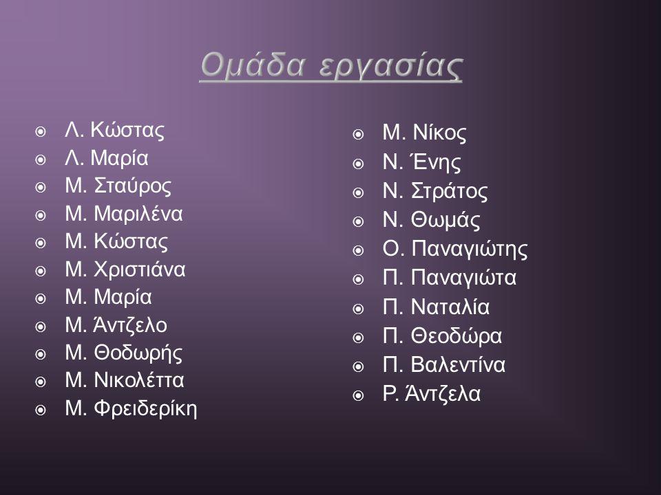 Ομάδα εργασίας Μ. Νίκος Ν. Ένης Ν. Στράτος Ν. Θωμάς Ο. Παναγιώτης