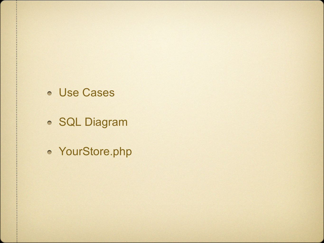 Use Cases SQL Diagram YourStore.php