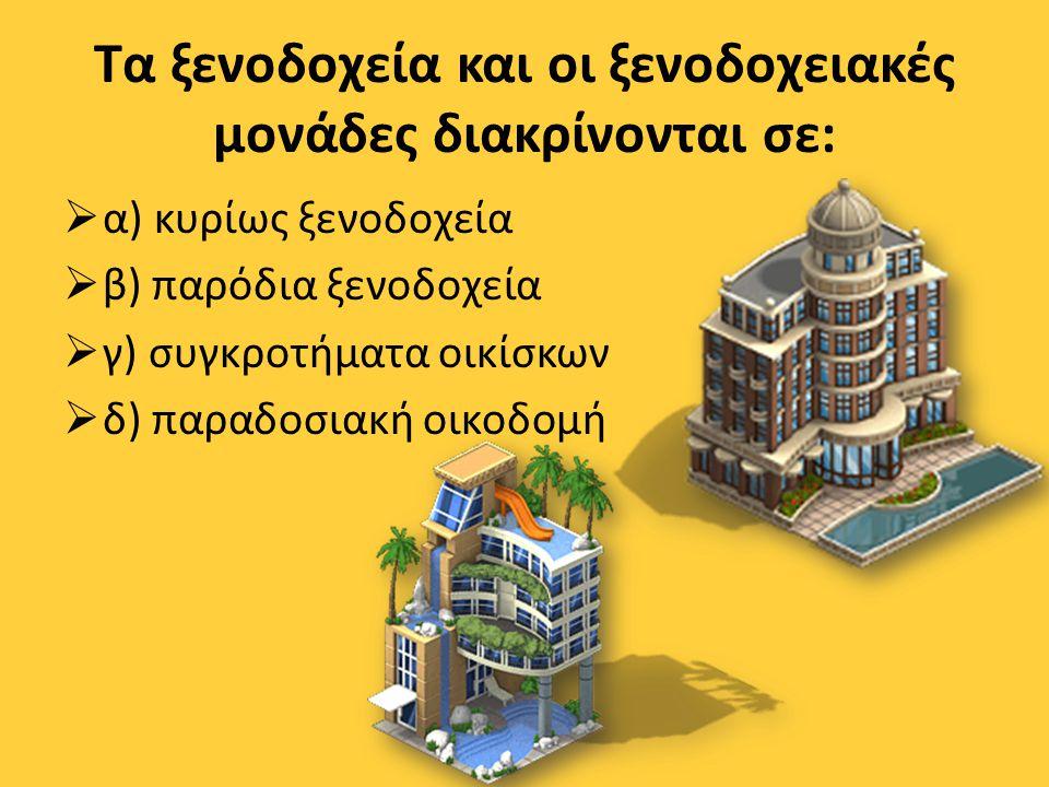 Τα ξενοδοχεία και οι ξενοδοχειακές μονάδες διακρίνονται σε:
