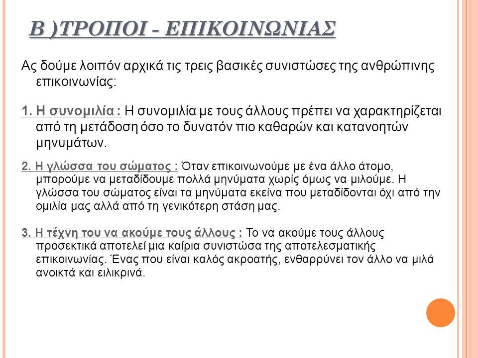 Β )ΤΡΟΠΟΙ - ΕΠΙΚΟΙΝΩΝΙΑΣ