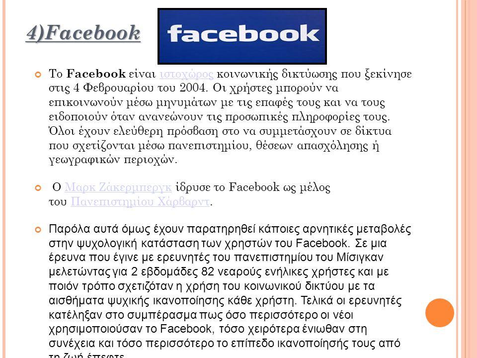 4)Facebook