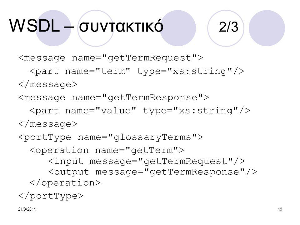 WSDL – συντακτικό 2/3 <message name= getTermRequest >