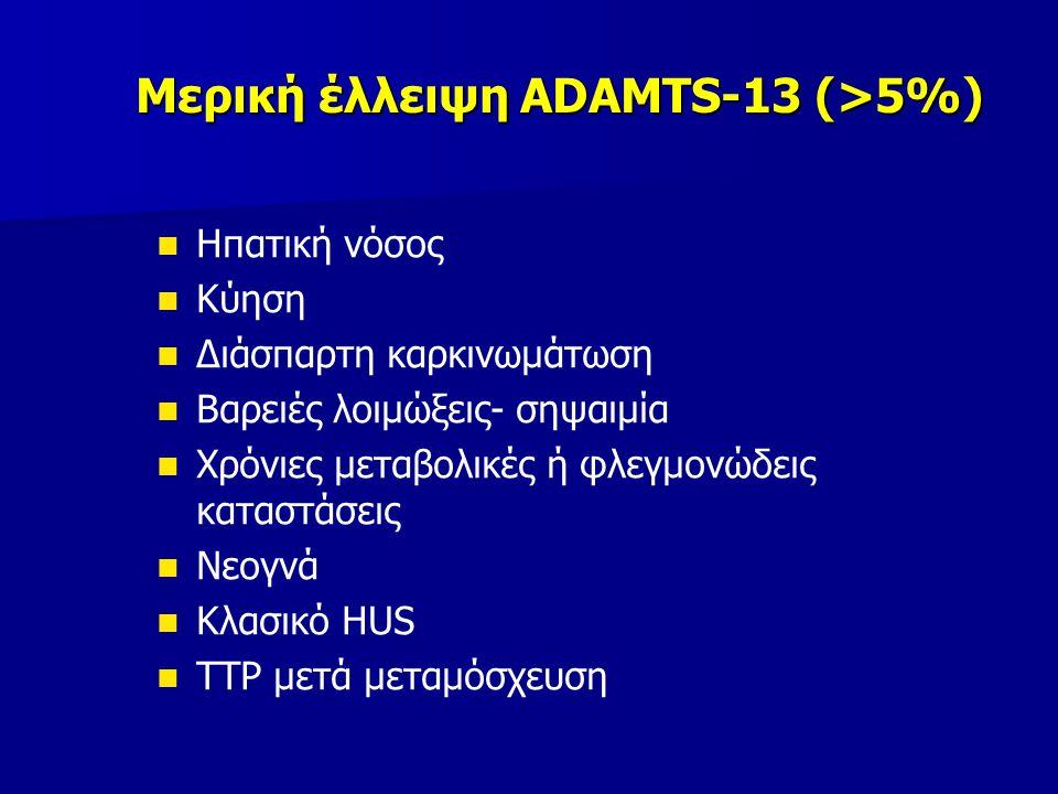 Μερική έλλειψη ADAMTS-13 (>5%)