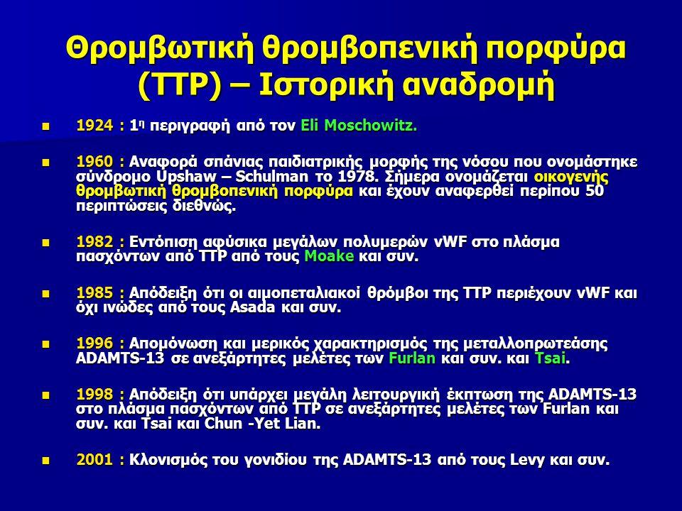 Θρομβωτική θρομβοπενική πορφύρα (TTP) – Ιστορική αναδρομή