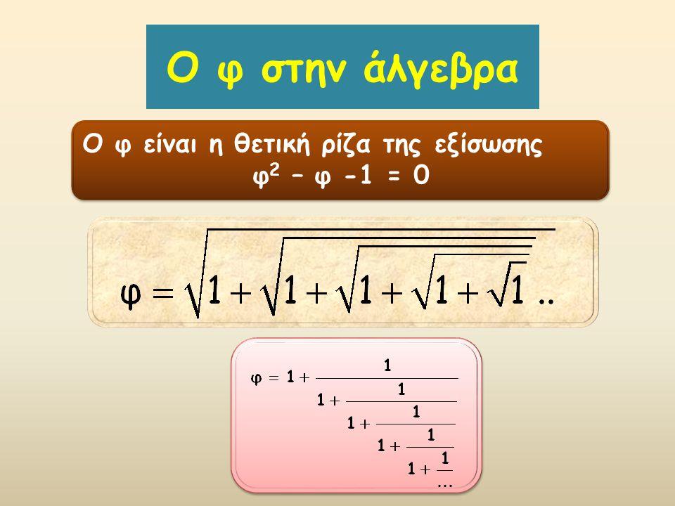O φ στην άλγεβρα Ο φ είναι η θετική ρίζα της εξίσωσης φ2 – φ -1 = 0