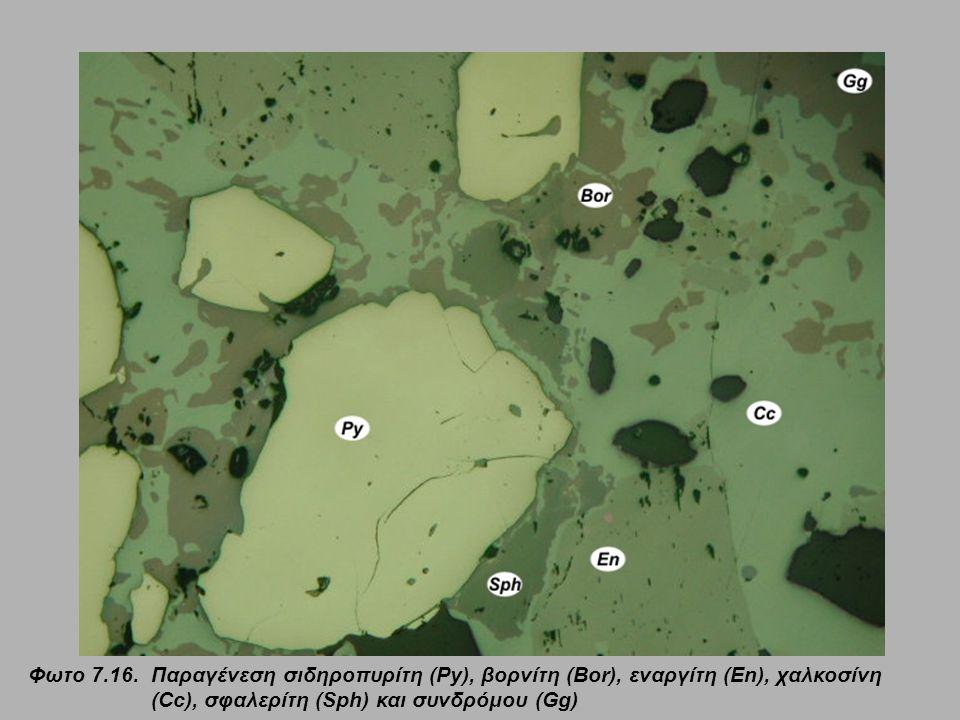 Φωτο 7.16. Παραγένεση σιδηροπυρίτη (Py), βορνίτη (Bor), εναργίτη (En), χαλκοσίνη (Cc), σφαλερίτη (Sph) και συνδρόμου (Gg)