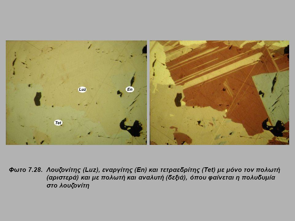 Φωτο 7.28. Λουζονίτης (Luz), εναργίτης (En) και τετραεδρίτης (Tet) με μόνο τον πολωτή (αριστερά) και με πολωτή και αναλυτή (δεξιά), όπου φαίνεται η πολυδυμία στο λουζονίτη