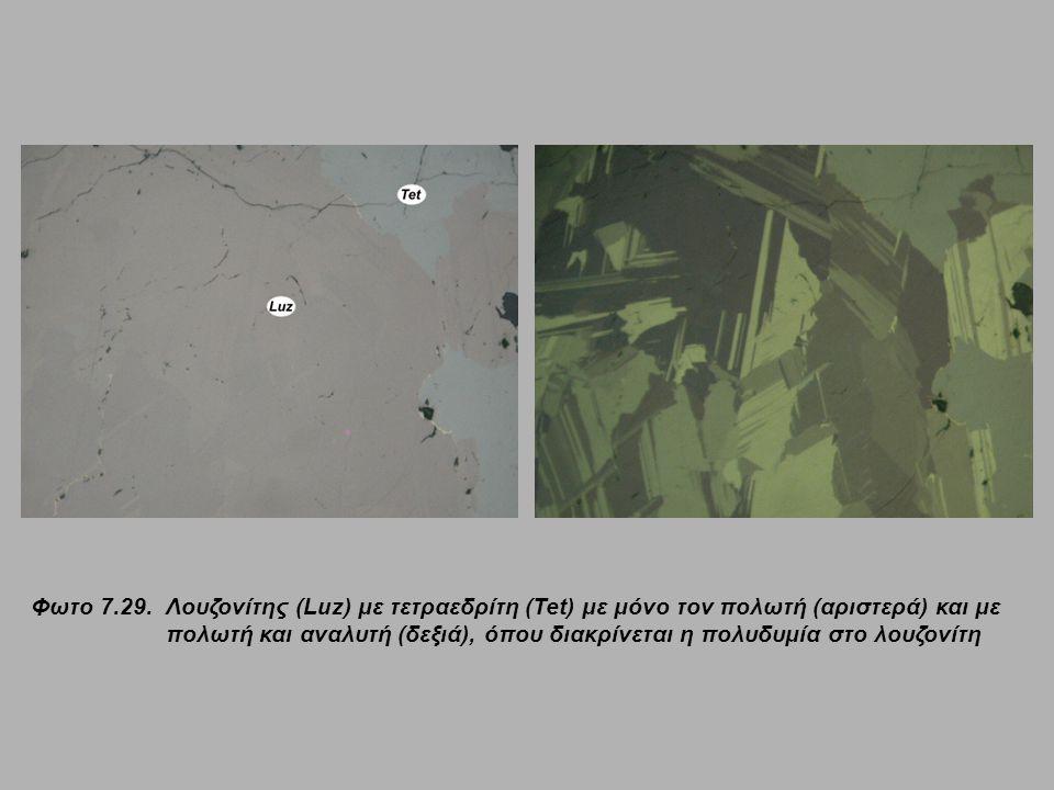 Φωτο 7.29. Λουζονίτης (Luz) με τετραεδρίτη (Tet) με μόνο τον πολωτή (αριστερά) και με πολωτή και αναλυτή (δεξιά), όπου διακρίνεται η πολυδυμία στο λουζονίτη