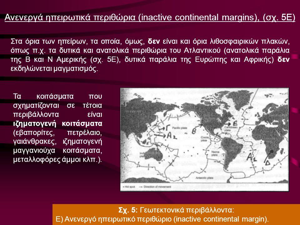 Ανενεργά ηπειρωτικά περιθώρια (inactive continental margins), (σχ. 5Ε)