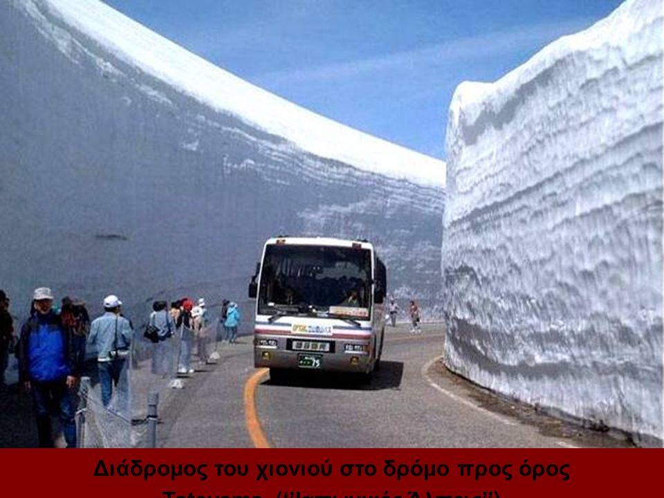 Διάδρομος του χιονιού στο δρόμο προς όρος Tateyama