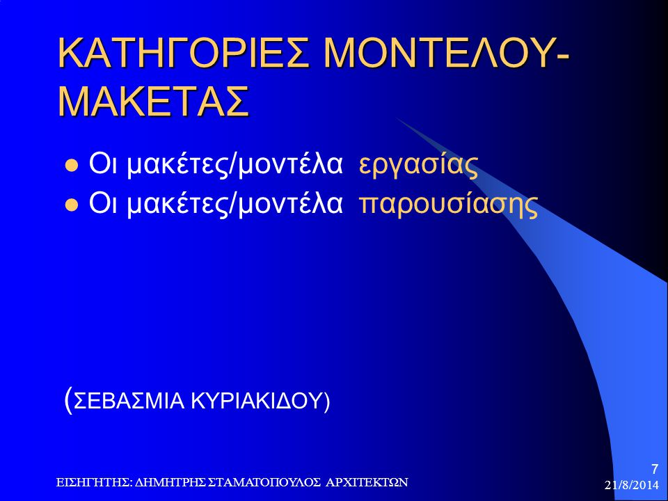 ΚΑΤΗΓΟΡΙΕΣ ΜΟΝΤΕΛΟΥ- ΜΑΚΕΤΑΣ