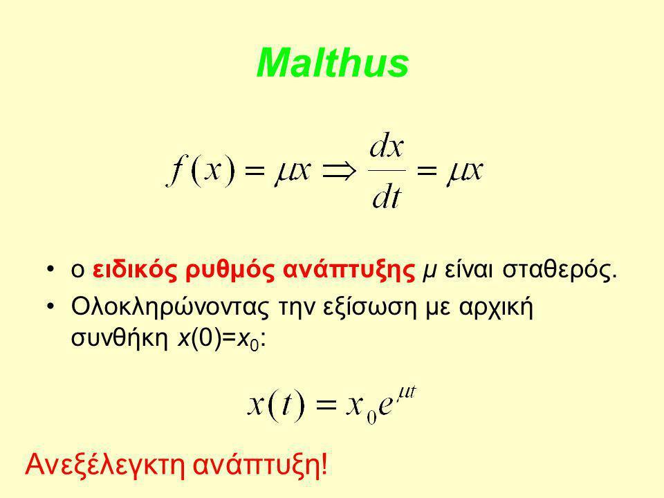 Malthus Ανεξέλεγκτη ανάπτυξη!