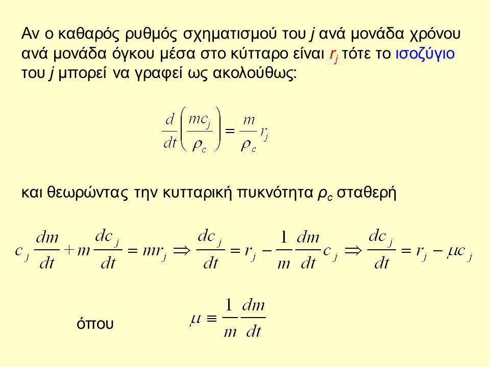 Αν ο καθαρός ρυθμός σχηματισμού του j ανά μονάδα χρόνου ανά μονάδα όγκου μέσα στο κύτταρο είναι rj τότε το ισοζύγιο του j μπορεί να γραφεί ως ακολούθως: