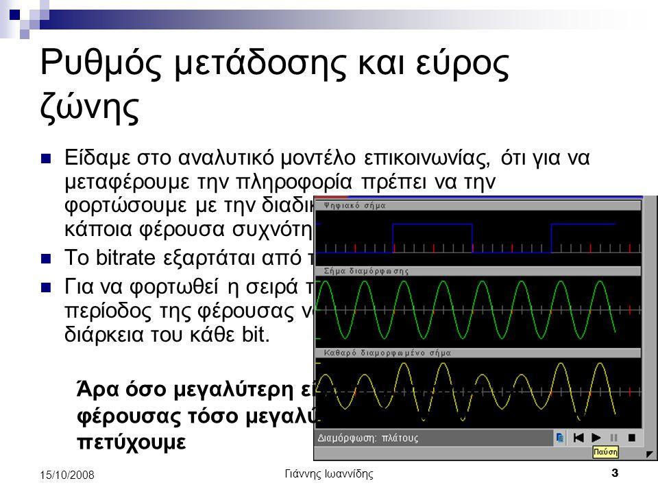 Ρυθμός μετάδοσης και εύρος ζώνης
