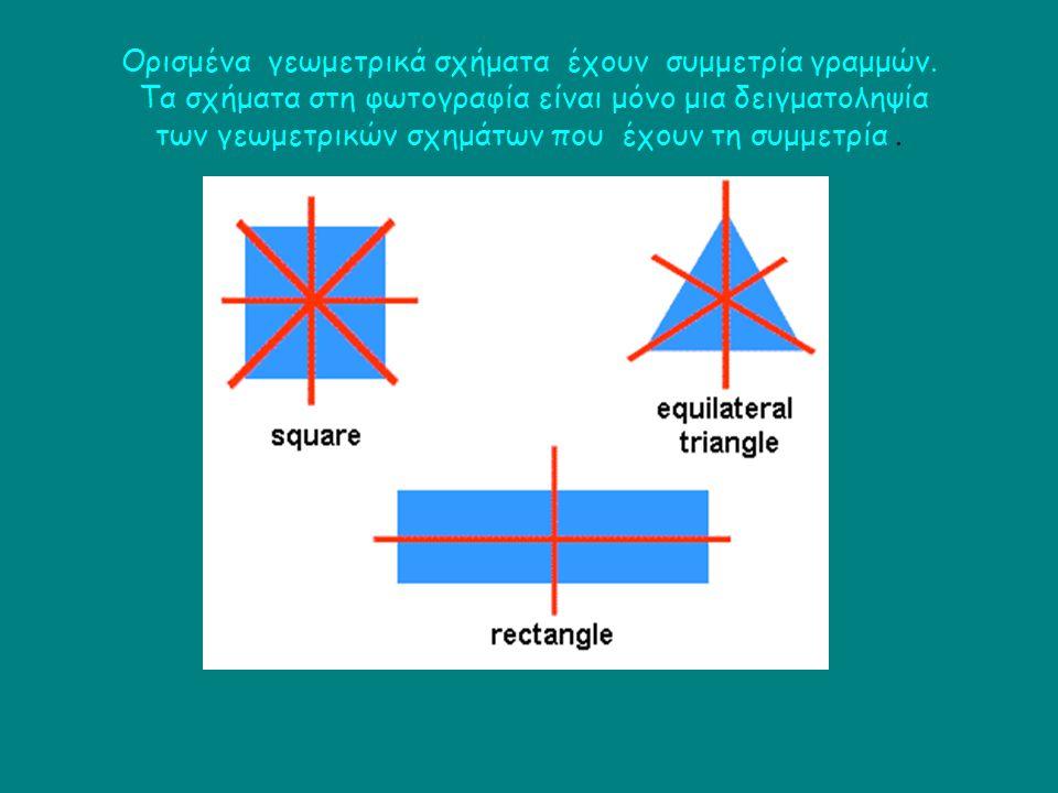 Ορισμένα γεωμετρικά σχήματα έχουν συμμετρία γραμμών