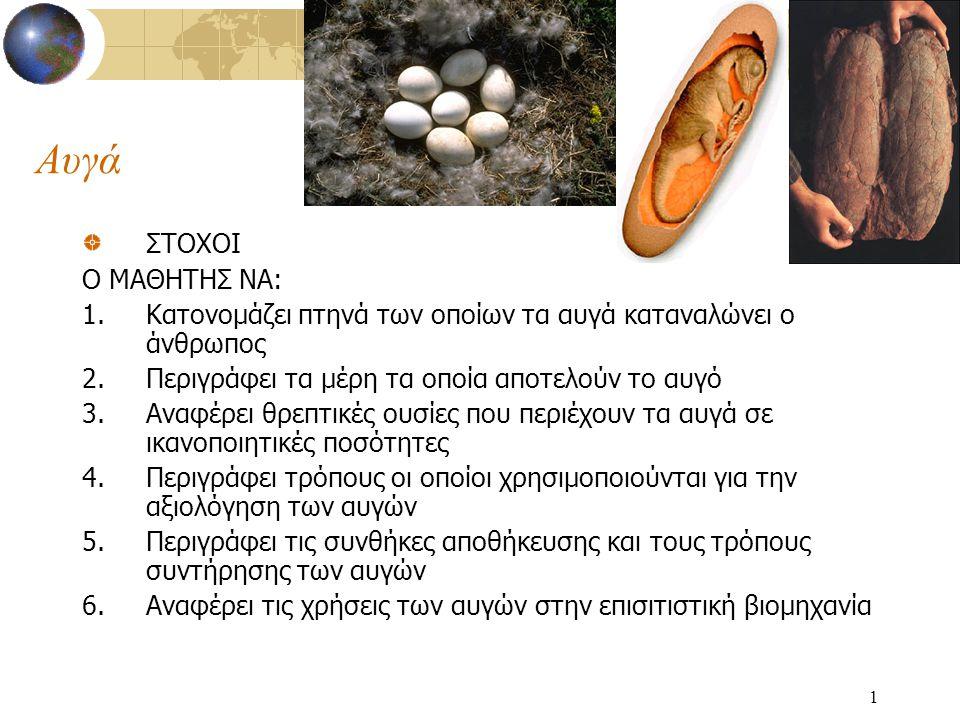 Αυγά ΣΤΟΧΟΙ Ο ΜΑΘΗΤΗΣ ΝΑ: