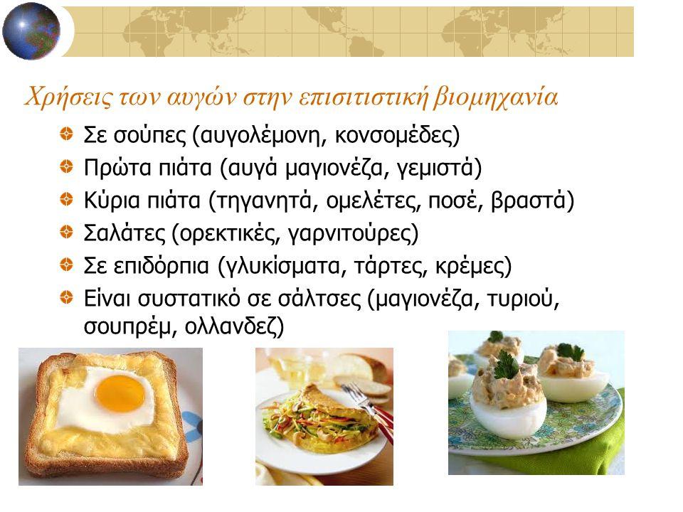 Χρήσεις των αυγών στην επισιτιστική βιομηχανία