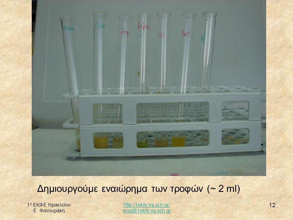 Δημιουργούμε εναιώρημα των τροφών (~ 2 ml)