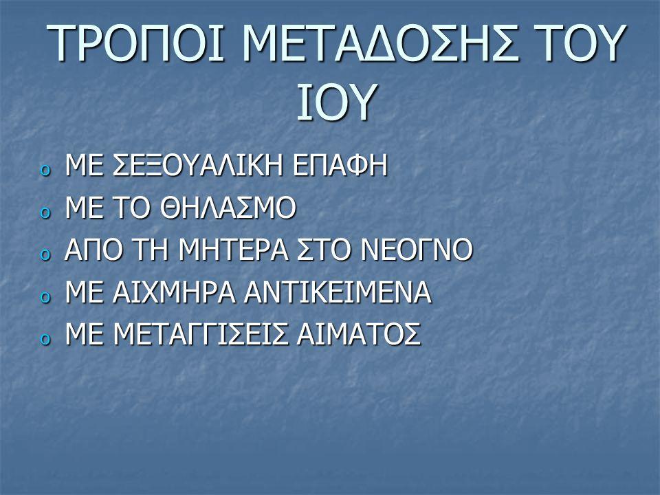 ΤΡΟΠΟΙ ΜΕΤΑΔΟΣΗΣ ΤΟΥ ΙΟΥ