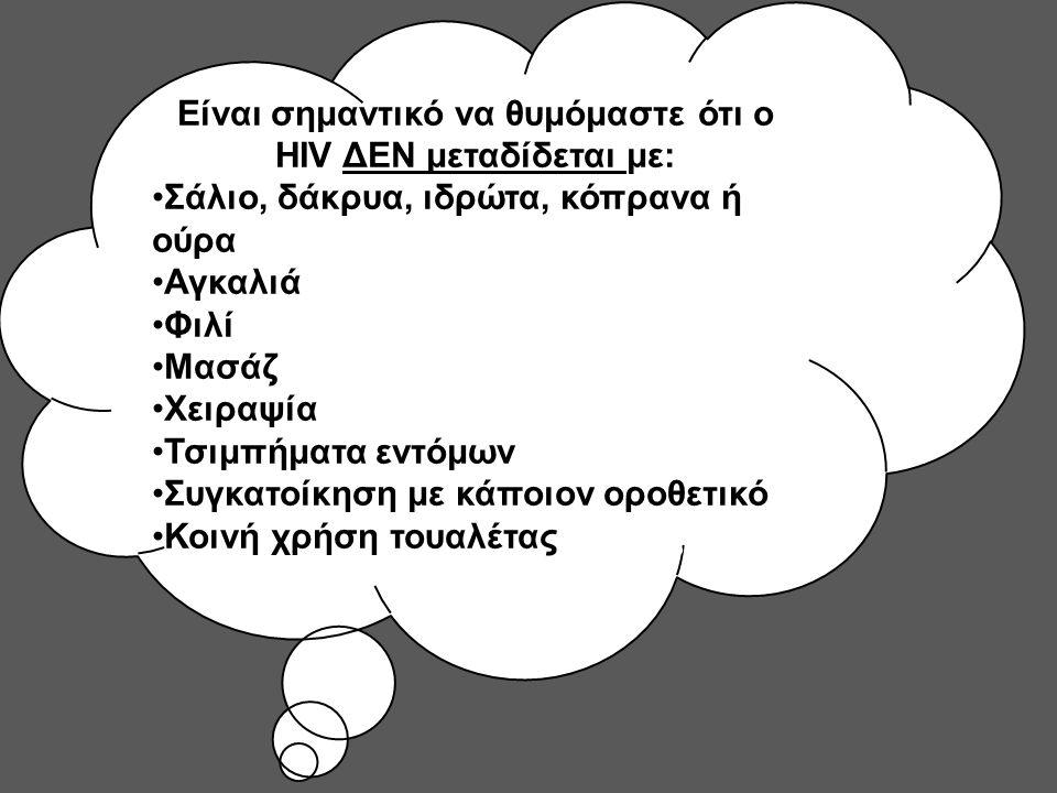 Είναι σημαντικό να θυμόμαστε ότι ο HIV ΔΕΝ μεταδίδεται με: