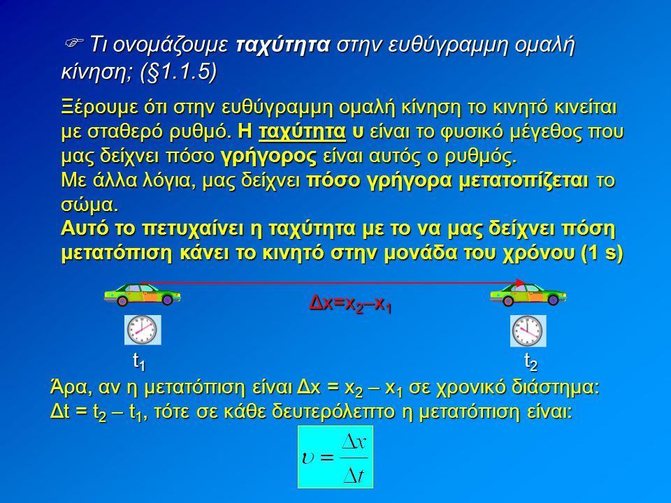  Τι ονομάζουμε ταχύτητα στην ευθύγραμμη ομαλή κίνηση; (§1.1.5)