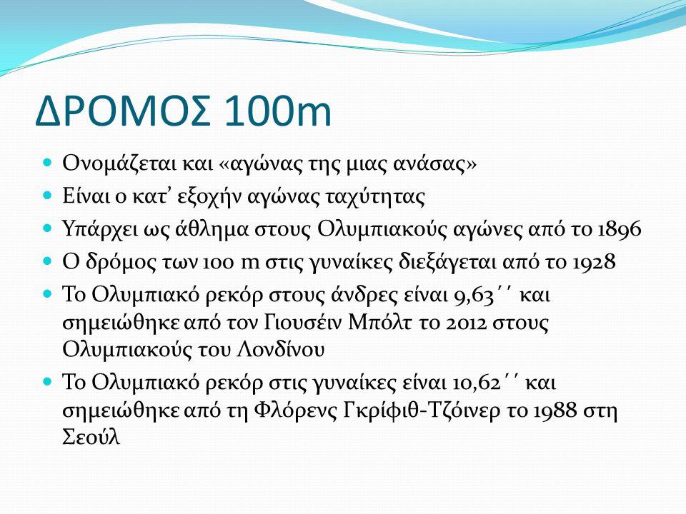 ΔΡΟΜΟΣ 100m Ονομάζεται και «αγώνας της μιας ανάσας»