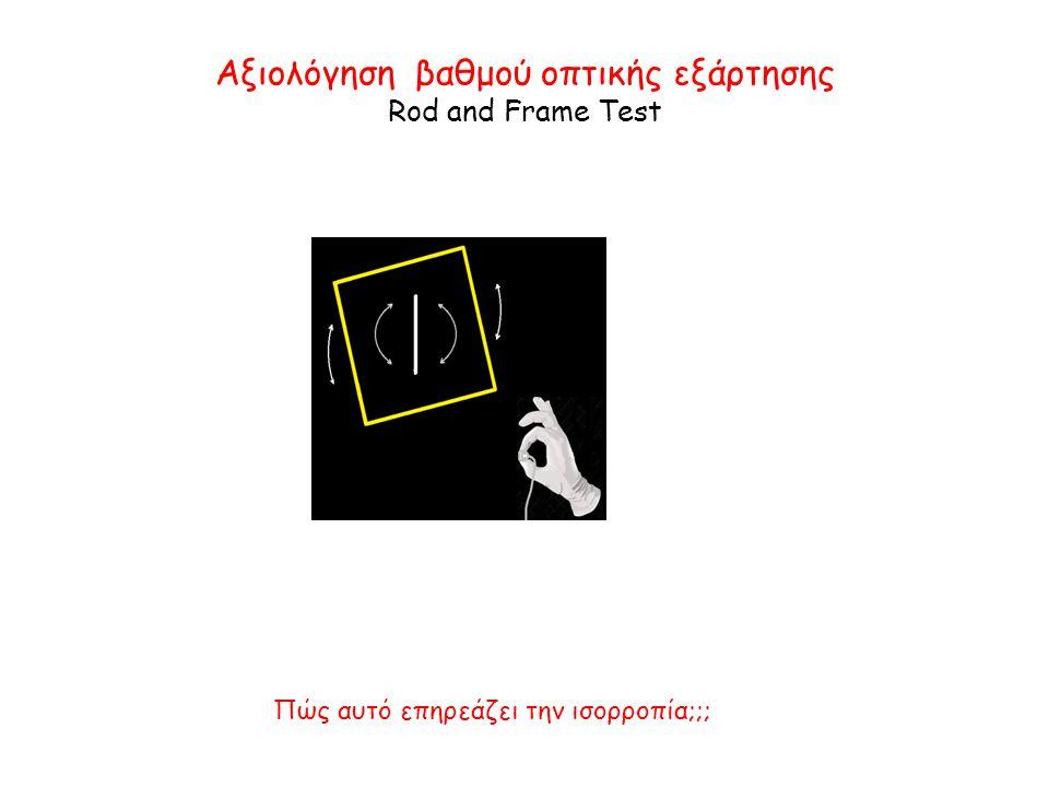 Αξιολόγηση βαθμού οπτικής εξάρτησης Rod and Frame Test