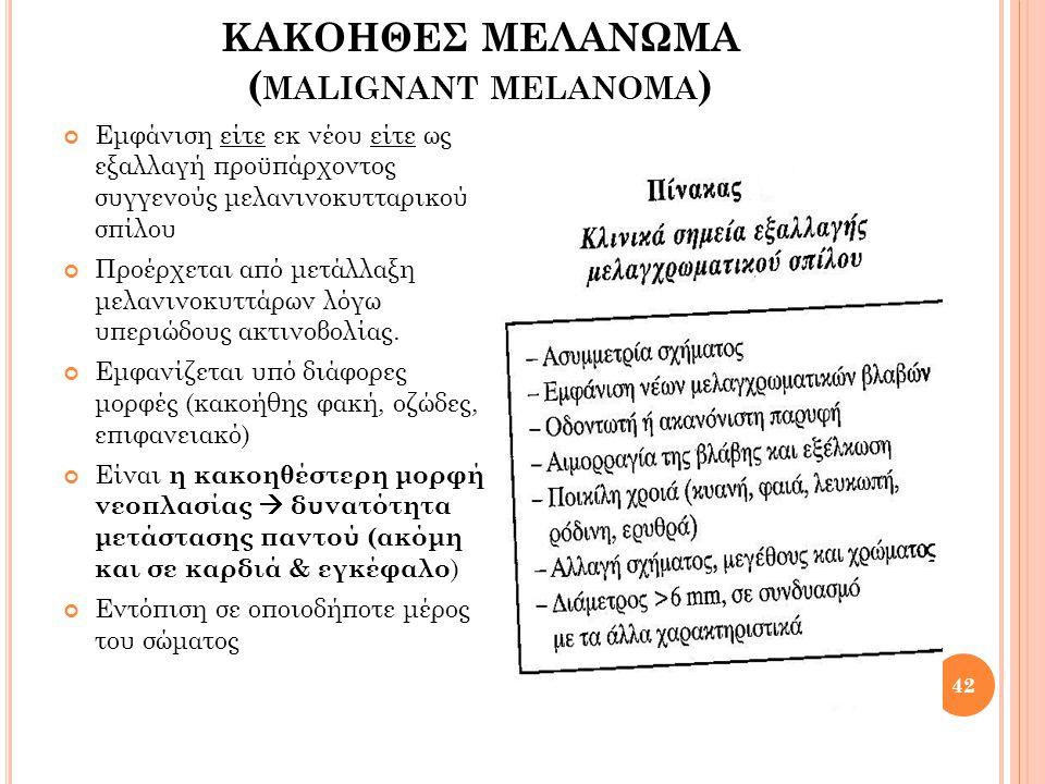 ΚΑΚΟΗΘΕΣ ΜΕΛΑΝΩΜΑ (malignant melanoma)
