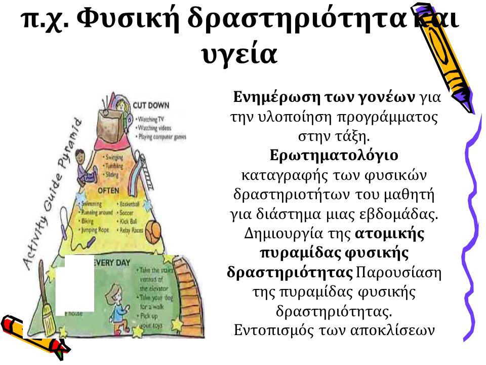 π.χ. Φυσική δραστηριότητα και υγεία