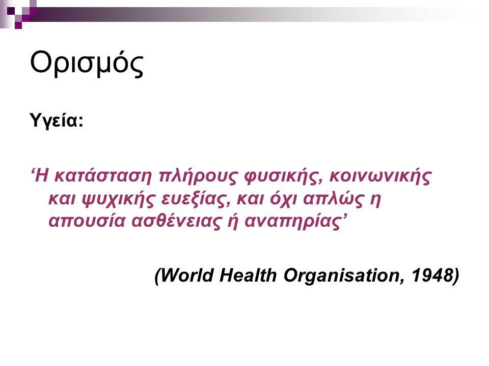 Ορισμός Υγεία: 'Η κατάσταση πλήρους φυσικής, κοινωνικής και ψυχικής ευεξίας, και όχι απλώς η απουσία ασθένειας ή αναπηρίας'