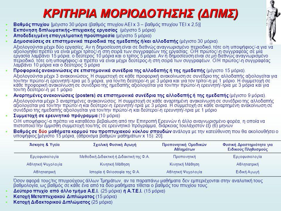 ΚΡΙΤΗΡΙΑ ΜΟΡΙΟΔΟΤΗΣΗΣ (ΔΠΜΣ)