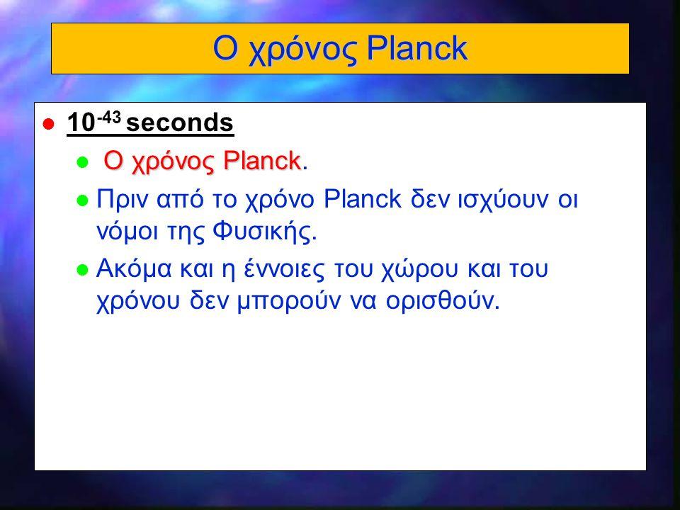 Ο χρόνος Planck 10-43 seconds Ο χρόνος Planck.