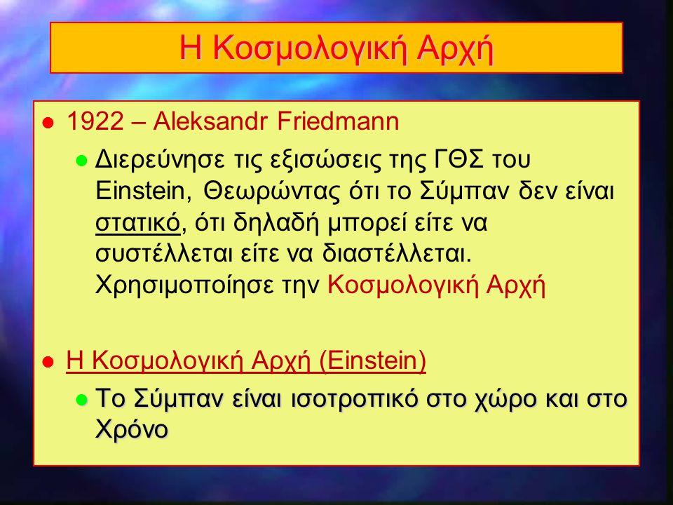 Η Κοσμολογική Αρχή 1922 – Aleksandr Friedmann