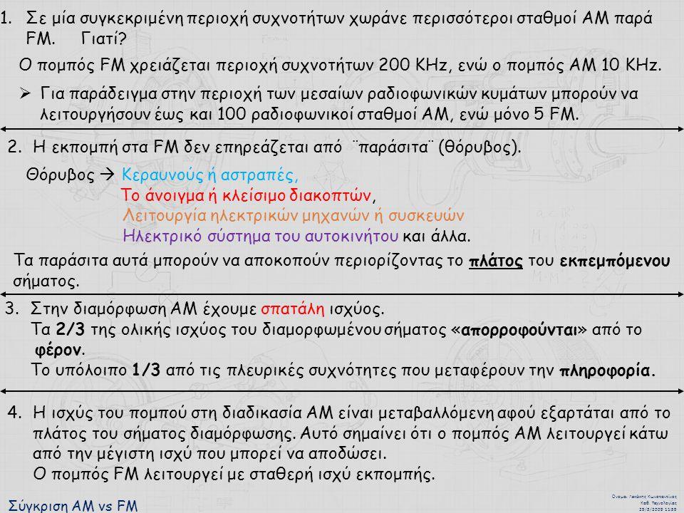 Η εκπομπή στα FM δεν επηρεάζεται από ¨παράσιτα¨ (θόρυβος).