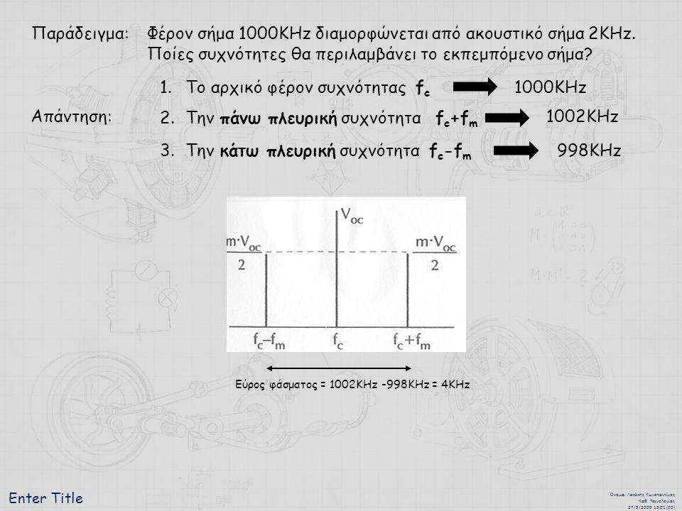 Φέρον σήμα 1000ΚΗz διαμορφώνεται από ακουστικό σήμα 2KΗz.