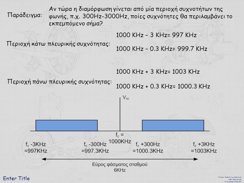 Περιοχή κάτω πλευρικής συχνότητας: 1000 KHz – 0.3 KHz= 999.7 KHz