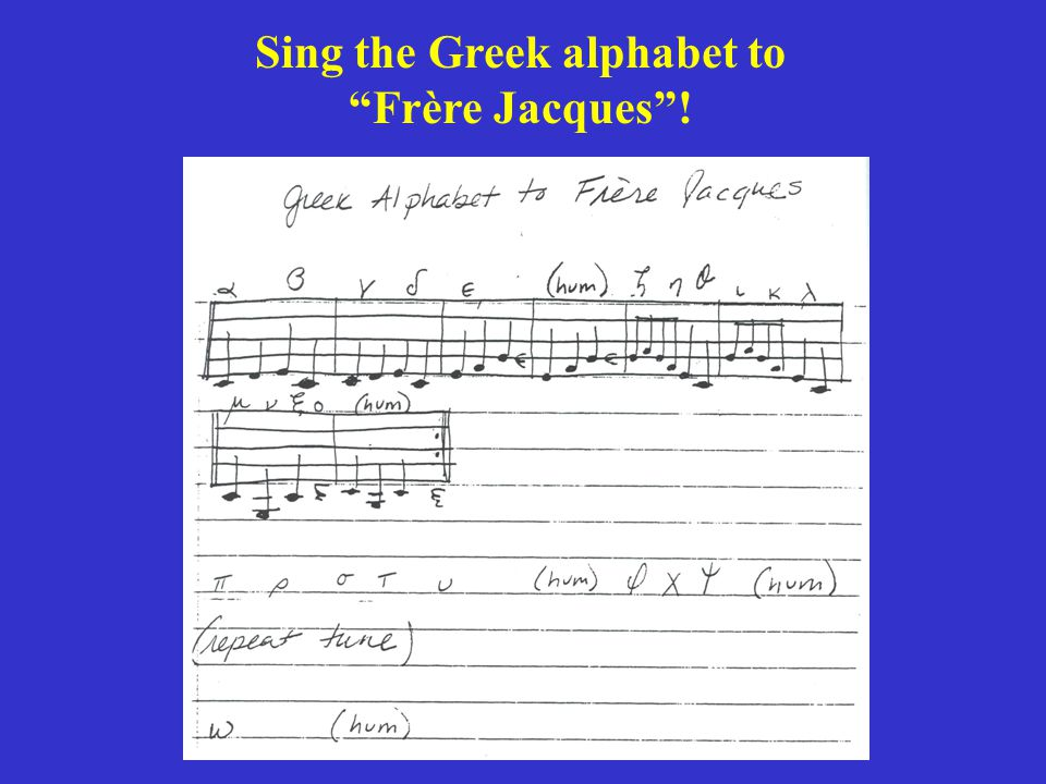 Sing the Greek alphabet to