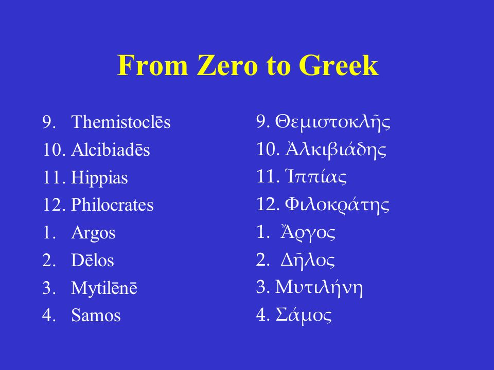 From Zero to Greek Themistoclēs Alcibiadēs Hippias Philocrates Argos