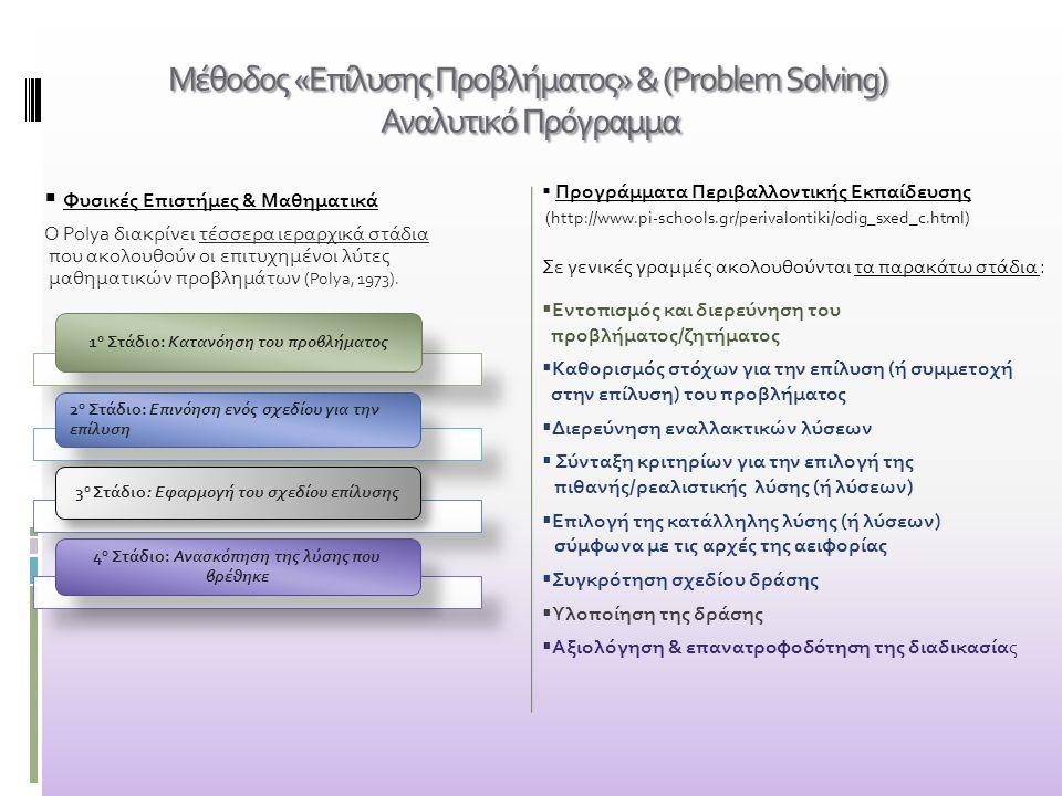 Μέθοδος «Επίλυσης Προβλήματος» & (Problem Solving) Αναλυτικό Πρόγραμμα