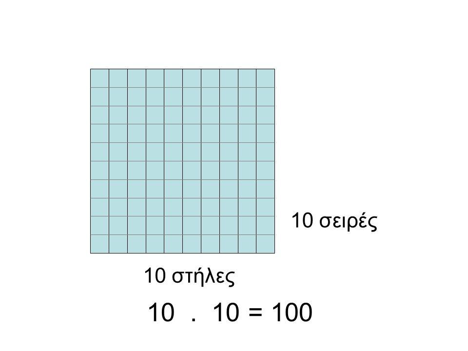 10 σειρές 10 στήλες 10 . 10 = 100