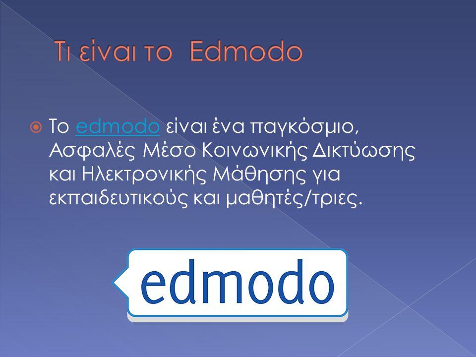 Τι είναι το Edmodo Το edmodo είναι ένα παγκόσμιο, Ασφαλές Μέσο Κοινωνικής Δικτύωσης και Ηλεκτρονικής Μάθησης για εκπαιδευτικούς και μαθητές/τριες.