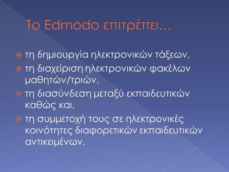 Το Edmodo επιτρέπει… τη δημιουργία ηλεκτρονικών τάξεων,