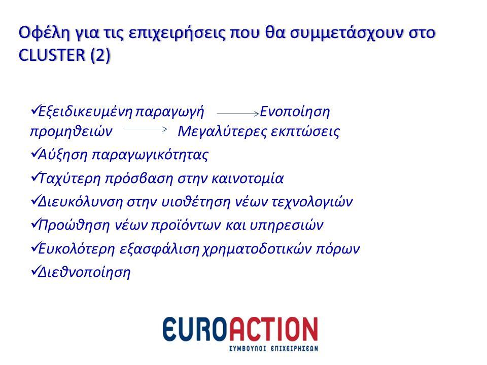Οφέλη για τις επιχειρήσεις που θα συμμετάσχουν στο CLUSTER (2)
