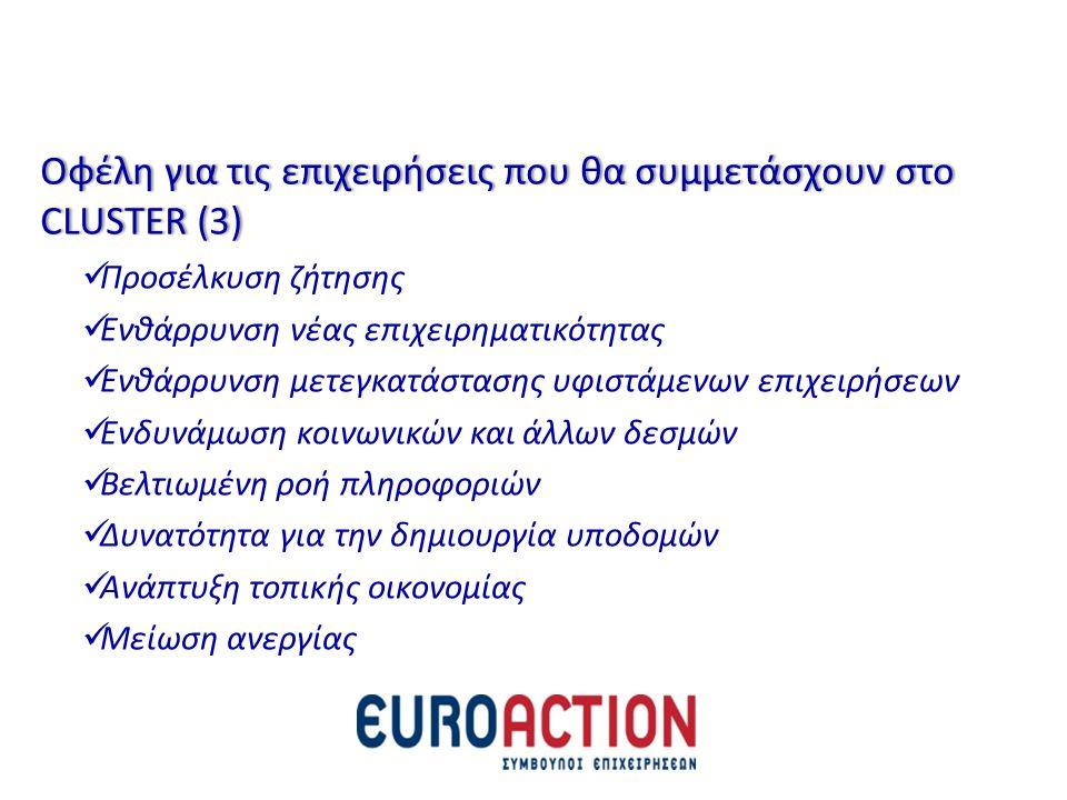 Οφέλη για τις επιχειρήσεις που θα συμμετάσχουν στο CLUSTER (3)