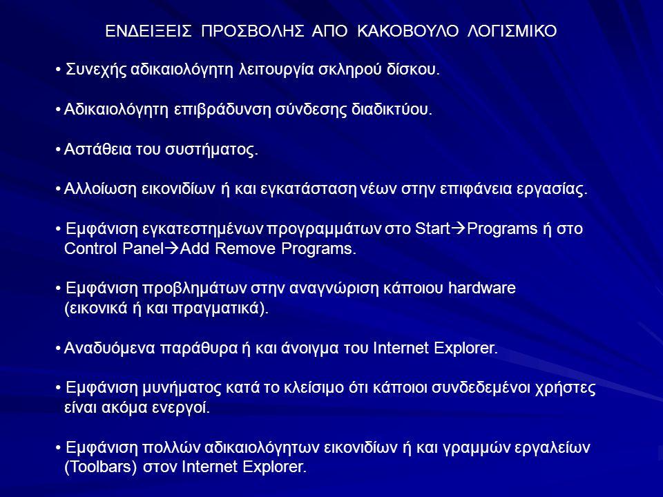 ΕΝΔΕΙΞΕΙΣ ΠΡΟΣΒΟΛΗΣ ΑΠΟ ΚΑΚΟΒΟΥΛΟ ΛΟΓΙΣΜΙΚΟ